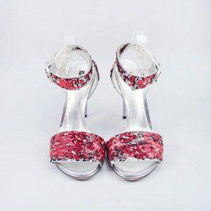 Dolce & Gabbana Red/Silver Sequin Sandal Heels